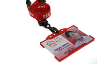 Pack of 100 15mm Staff Red Lanyards with Plastic J-Clip
