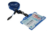 Pack of 100 15mm Visitor Blue Lanyards with Plastic J-Clip