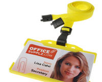 Pack of 100 Yellow Breakaway Lanyards w Plastic J-Clip