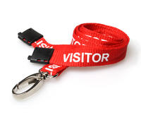 Red Visitor Lanyards with Breakaway and Metal Lobster Clip - Pack of 100