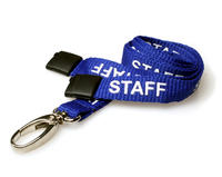 Pack of 100 15mm STAFF RoyalBlue Lanyards Metal Lobster Clip
